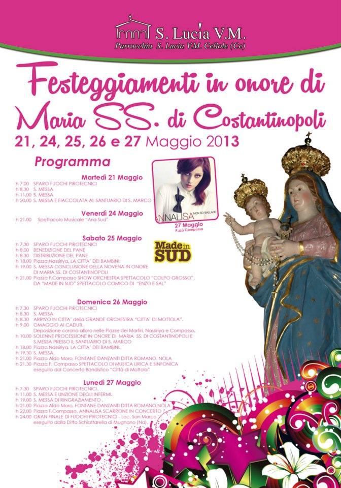 Programma dei festeggiamenti a Cellole in onore di  Maria SS. di Costantinopoli